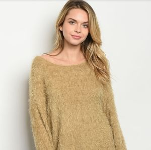 FLASH SALE!🔥Soft Fuzzy Eyelash Sweater in Tan